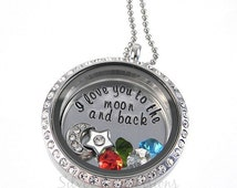 I love you to the moon and back Living Locket / Floating Origami Locket / Hand Stamped Jewelry