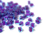 4mm square glass beads,  sky blue with purple color lined hole, Miyuki cubes, 200 beads 849SB