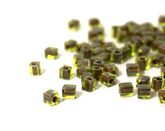 4mm square glass beads,  chartreuse green with brown color lined, Miyuki cubes, 200 beads 838SB