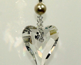 m/w Swarovski® crystals, Simply Elegant Big 37mm Wild Heart & Pearl Sun Catcher Car Charm Ornament, Pearl Place N More