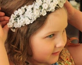 Babys Breath Crown. Floral headband. Flower Girl Headband. Bridal Headpiece. Wedding elastic headband. Newborn Photo Prop.