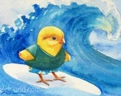 Chicken Art Hawaii Surfing Print 4x6 Limited Edition Baby Chick by Janet Zeh