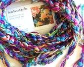 Fiber Necklace, Crochet Skinny Scarf, Multicolor Necklace, BoHo Fashion Accessory