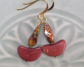 UU Chalice Earrings - Vintage Lucite Flame and Wood Crescents - One of a Kind