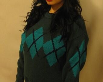 Vintage 1980's Argyle Sweater Medium