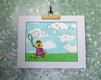 Happy Child with Bubbles Art Print Summer Fun Outdoors Play Time Nursery Decor 11x14 Mat
