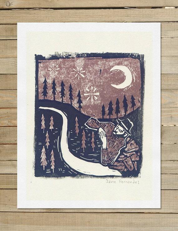 hipster folk stars   Sleeping Under Stars   8.5 x 11 in Art Print   night wall art