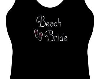 beach bride flip flop rhinestone tank top