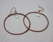Copper  prehenite jeweled dangling hoop earrings