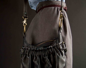 Black Leather Handbag- Lojaali Black Pleated Purse