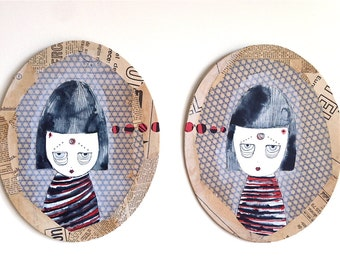Sheena and Judy communicate via telepathy. Diptych. 2 mixed media canvas blocks. Ready to hang.
