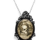 "Steampunk Skull Librarian with Ornate Silver & Black Frame on 18"" Chain Necklace"