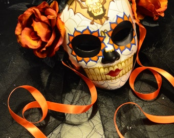 Lady of the Night - Day of the Dead Mask with Veil - Dia de los muertos bride- Bat Skull Tattoo Flash Art with Black and Fire Orange Roses