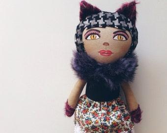 Katie - artdoll - kitty - handmade doll - cat - handpainted - cat doll