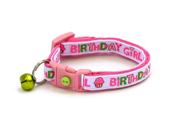 Birthday Cat Collar - Birthday Girl in Pink - Kitten or Large Size