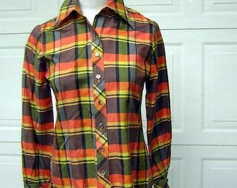 Vintage 70s Plaid Blouse - Preppy Silk Bullocks Orange Yellow Black Size 8 S to M