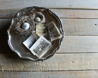 Vintage Silver Round Serving / Display Plate