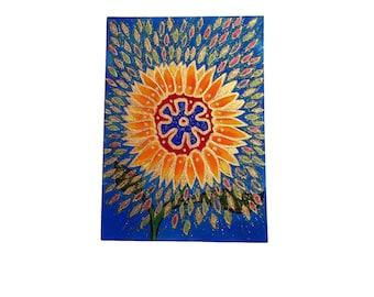 Bursting Sunflower ACEO - Handmade Original Work On Paper