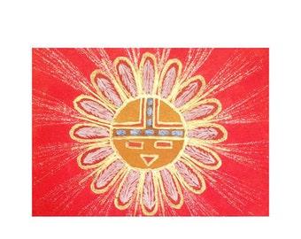 Navajo Sun ACEO - Handmade Original Work On Paper