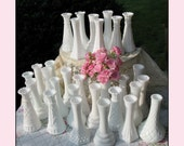LINDSAY'S Custom CELEBRATION COLLECTION / The Wedding Collection/ Vintage Milk Glass Bud Vase Collection of Thirty