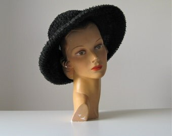 vintage 1960s hat / wide brim hat / Schiaparelli hat