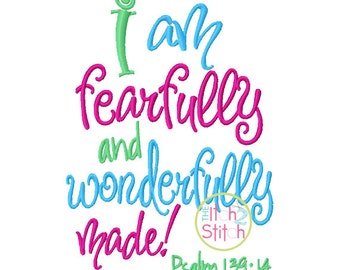 Fearfully and Wonderfully Made embroidery design, INSTANT DOWNLOAD now available