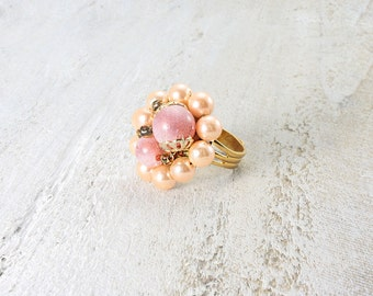 Peach ring repurposed vintage. Gold tone and adjustable.  Beautiful and one of a kind.