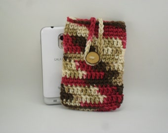 Phone Cozy Pouch - Cherry Chip with Natural Oak Wood Button Closure - Red Beige Cream Brown Multi Camo