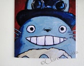 Steampunk Totoro Art My Neighbour Steampunk Greeting Card From my Original Painting