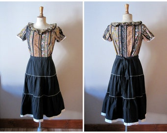 vintage 1960s swing dress / 60s folk maxidress