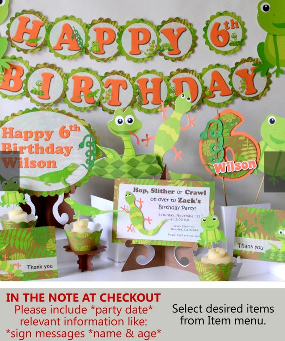 reptile party birthday decorations  snake, lizard, frog, Baby shower invitation