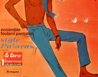 SALE 9 x 12 inch Le Toro trousers vintage advert dated 1960s