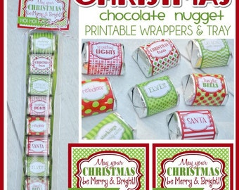 CHRISTMAS Merry & Bright Chocolate Nugget Wrappers, Holiday Party Favor or Treat - Printable Instant Download