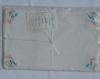 Vintage Embroidered Linen Cocktail Napkins Made in Portugal in Package