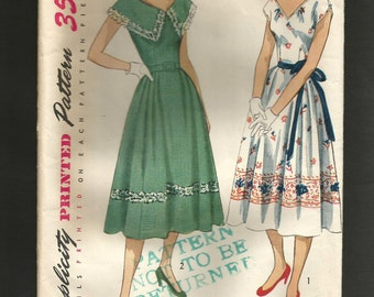 Vintage 1950s  Simplicity Pattern 3563 'Mother and Daughter' ADORABLE one piece Dress bust 34