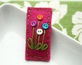 Faith - Felt snap clip hair clip with flower buttons