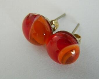Fused Glass Stud Earrings Orange Red Swirl