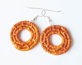 Woven Hoop Earrings -Orange Earrings -Raffia Fiber Earrings -1.5 inch diameter