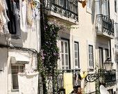 Lisbon Portugal Photography - Laundry Room Wall Art Lisbon Street Photograph Portuguese Art Print Architecture Window European Decor