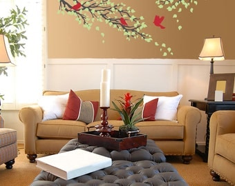 Tree branch wall decal with birds - wall sticker - nursery, bedroom, living room or office decor