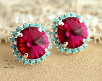 Pink Turquoise Stud Earrings,Dark Pink Turquoise Earrings,Fuchsia Swarovski Earrings,Mint Pink Earrings,Christmas Gift,Bridesmaids Earrings