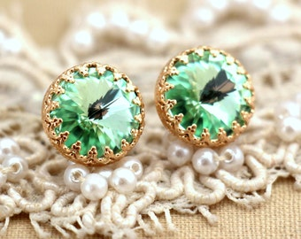 Clear Mint green seafoam Crystal Gold stud  earring brides maids earrings - 14 k Gold filled stud earrings real swarovski rhinestones .