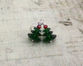 Christmas Tree Earrings Christmas Earrings Christmas Jewelry Holiday Jewelry Holiday Earrings Festive Earrings Tree Earrings Mom Gift 062