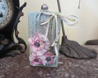 "If in Doubt Fabulously Overdress"" Wood Block Collage with Pink Flowers"