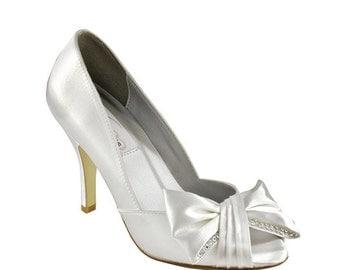 "Wedding Shoes- 3"" heels-Peep Toe Large Bow- 250 Custom Colors- Bridal Shoes"
