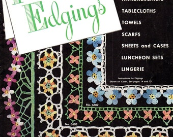 Star Book No. 65 FLOWER EDGINGS circa 1949  Colorful Patterns in Thread Crochet