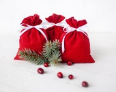 Gift bags - Wedding favours red linen gift bags set 10 - weddings favors gift  linen pouches - Christmas gift bags