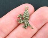 10 Dragon Charms Antique Bronze Tone - BC577