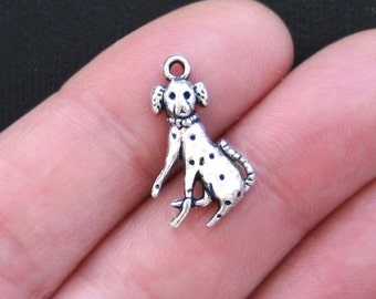 10 Dalmatian Dog Charms Antique  Silver Tone - SC2815