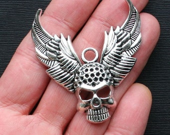 1 Skull Charms Antique Silver Tone Large Size with Wings - SC3016